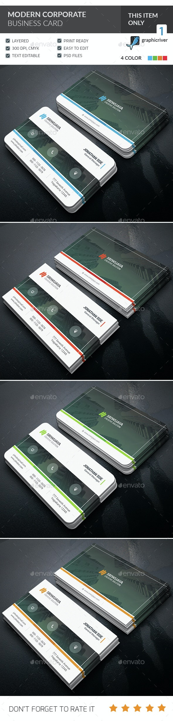 Modern Corporate Business Card  - Corporate Business Cards