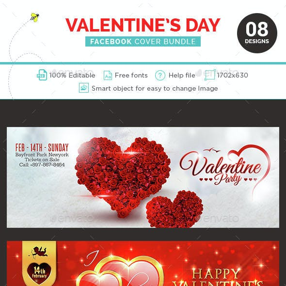 Valentine's Day Facebook Cover Bundle  - 8 Designs