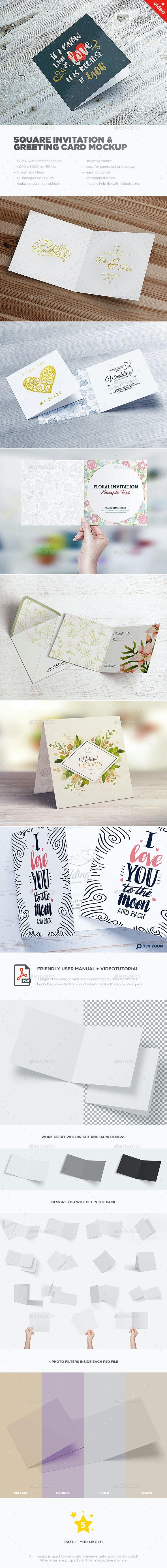 Square Invitation & Greeting Card Mockup - Brochures Print
