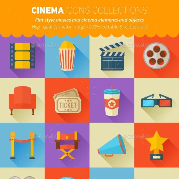 Flat Movies and Cinema Icons Set