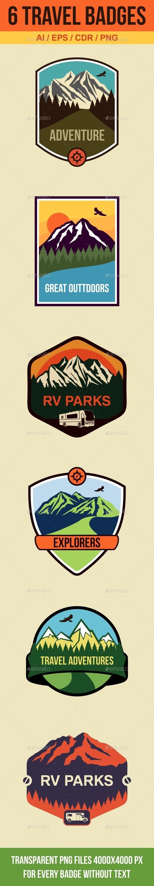 6 Travel Badges and Emblems - Travel Conceptual