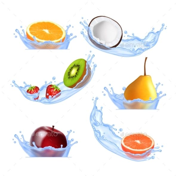 Fruits In Splashing Water