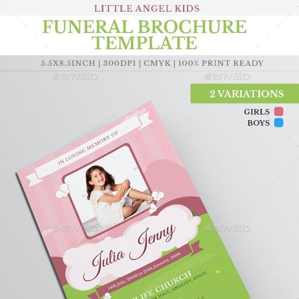 Little Angel Boy Girl Kid Funeral Brochure Template