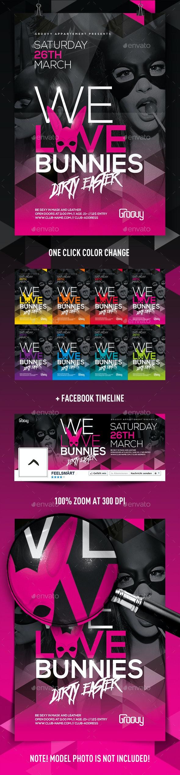 We Love Bunnies Flyer - Clubs & Parties Events