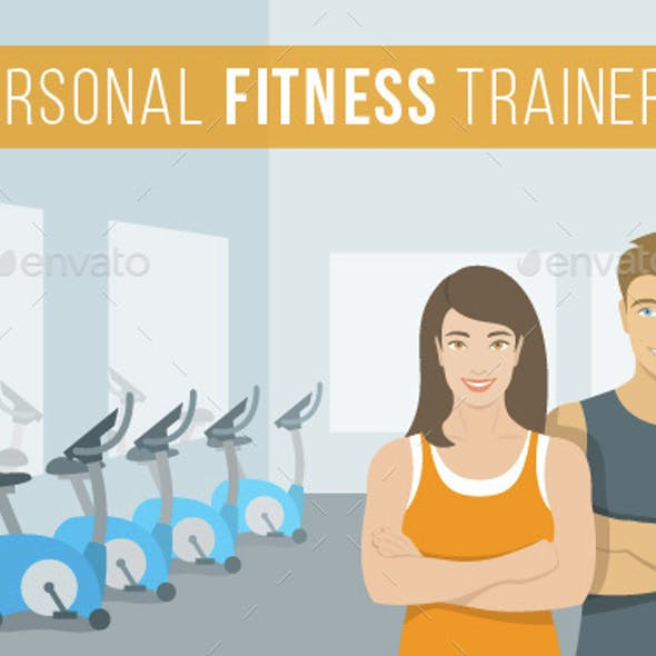Personal Fitness Trainers Man and Woman in Gym