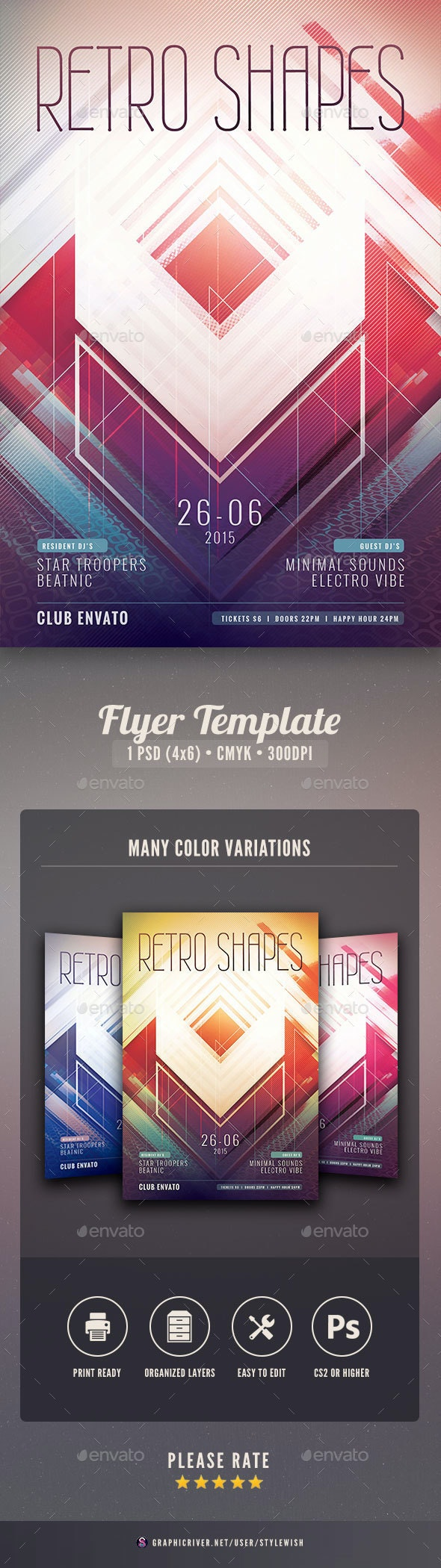 Retro Shapes Flyer - Clubs & Parties Events
