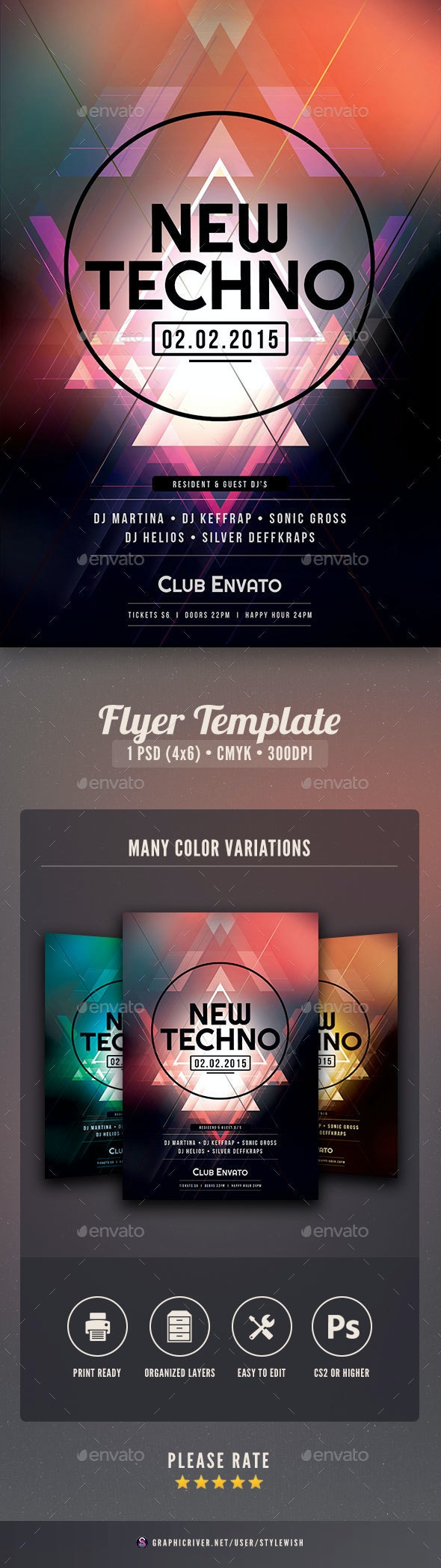 New Techno Flyer - Clubs & Parties Events
