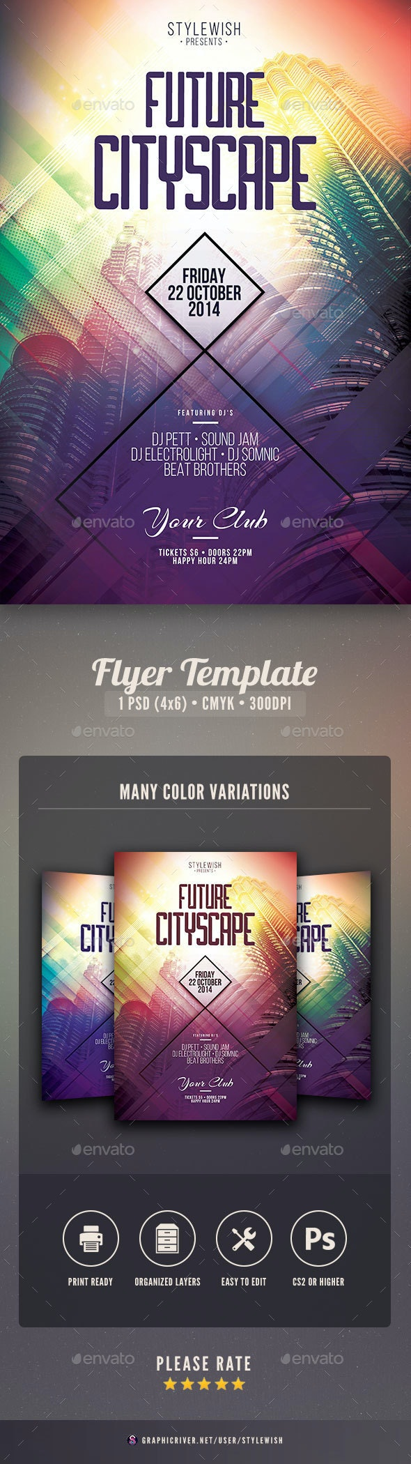 Future Cityscape Flyer - Clubs & Parties Events