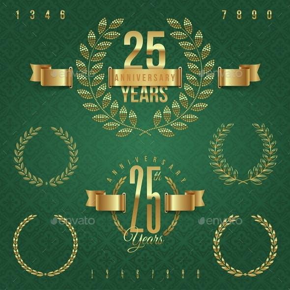 Anniversary Golden Emblems and Decorative Elements