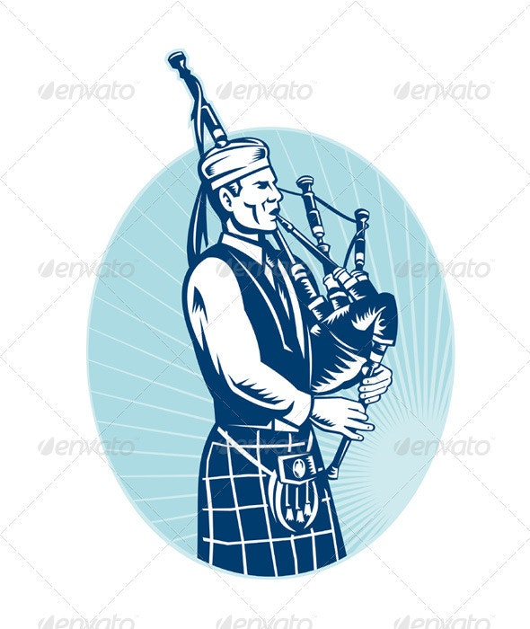 Scottish Bagpiper Playing Bagpipe Retro - People Characters