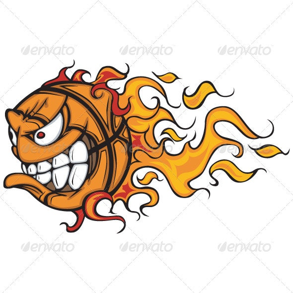 Flaming Basketball Face Vector Cartoon - Animals Characters