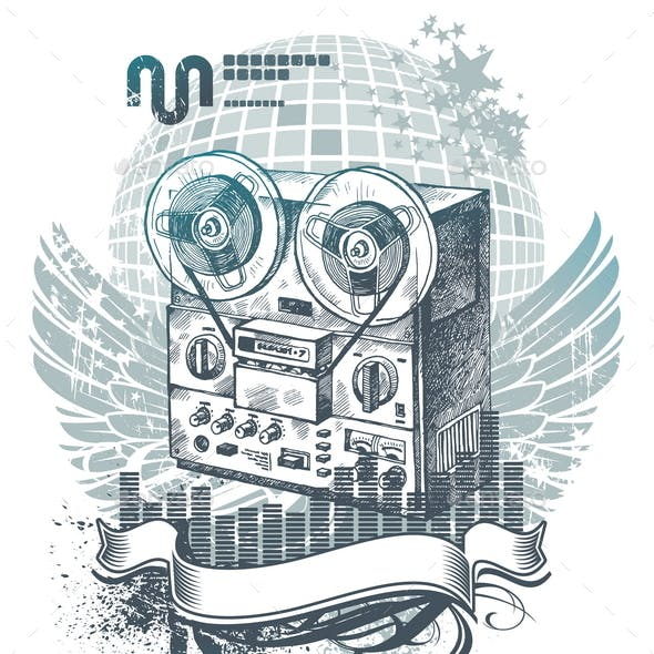 Illustration with Hand Drawn Tape Recorder