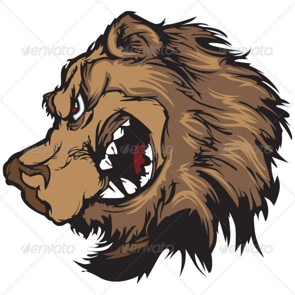 Bear Grizzly Mascot Head Vector Cartoon