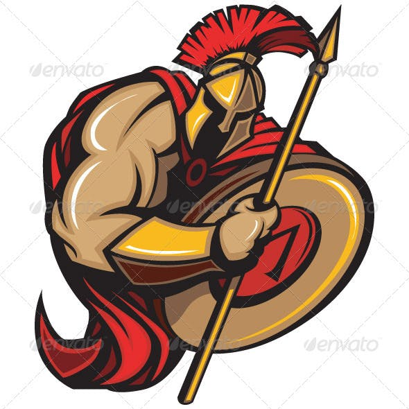 Spartan Trojan Mascot Vector Cartoon with Spear an