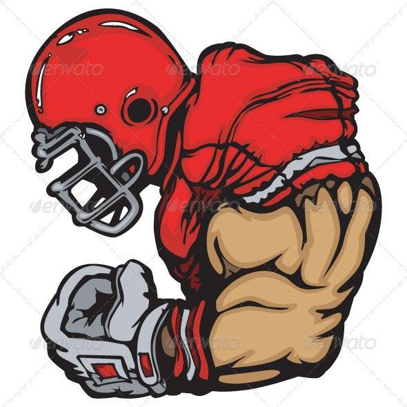 Football Player Lineman Vector Cartoon - Sports/Activity Conceptual