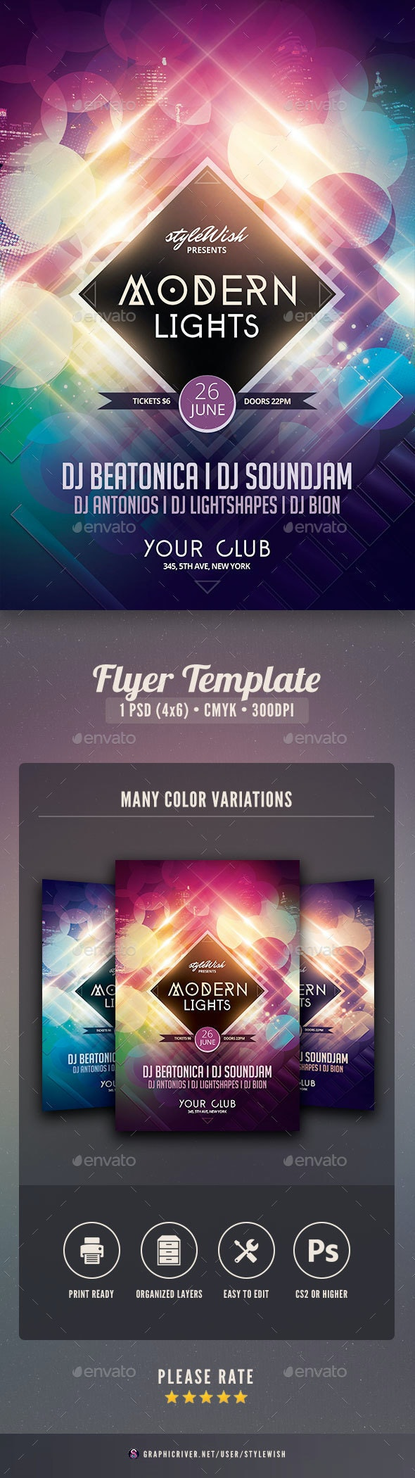 Modern Lights Flyer - Clubs & Parties Events