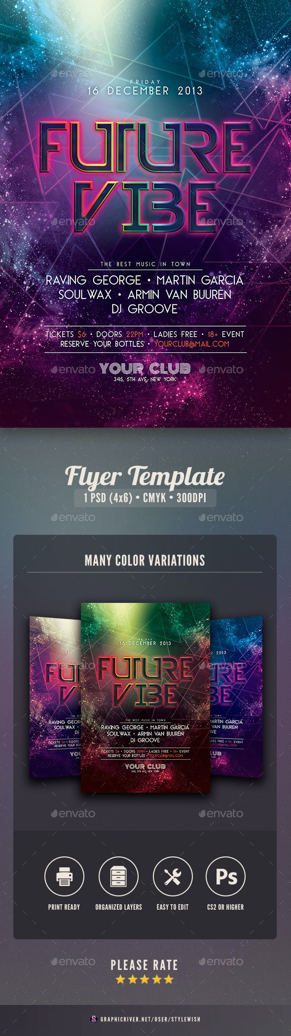 Future Vibe Flyer - Clubs & Parties Events