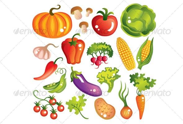 Large set of vegetables