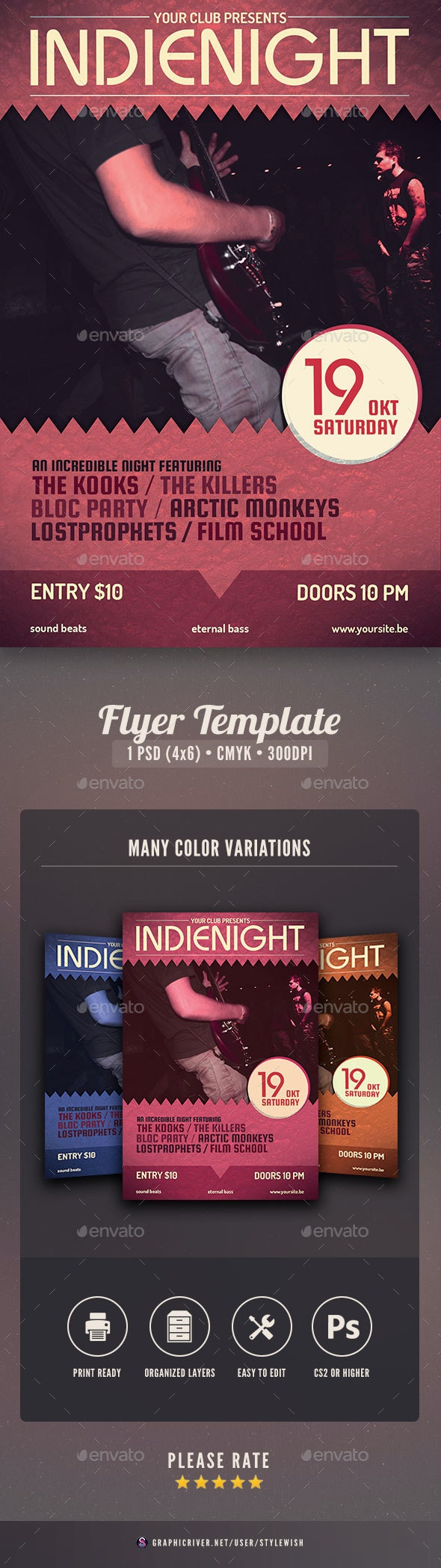 Indienight Flyer - Concerts Events