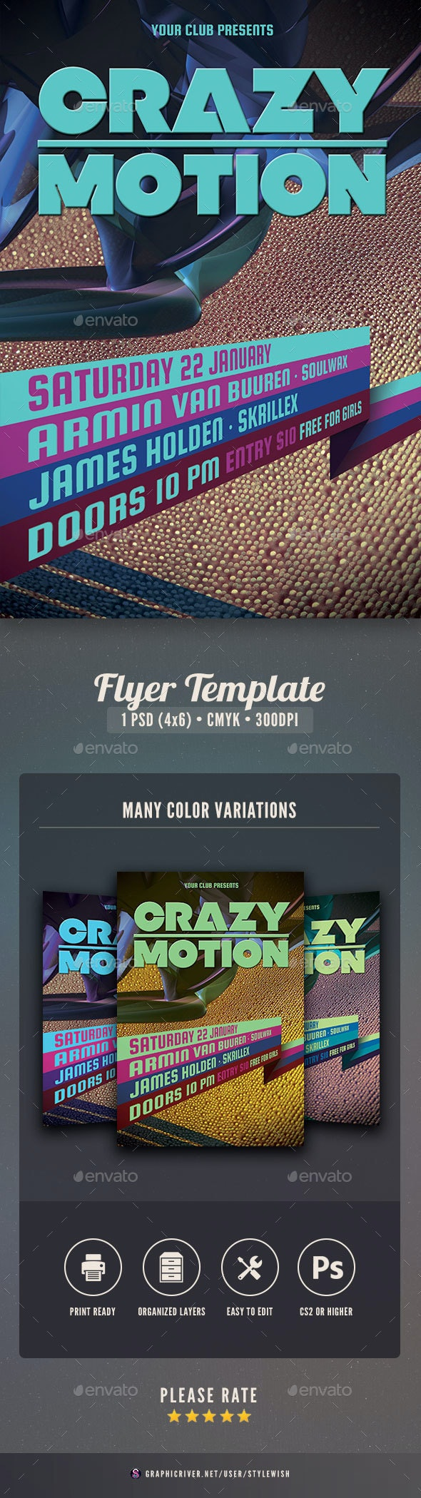 Crazy Motion Flyer - Clubs & Parties Events