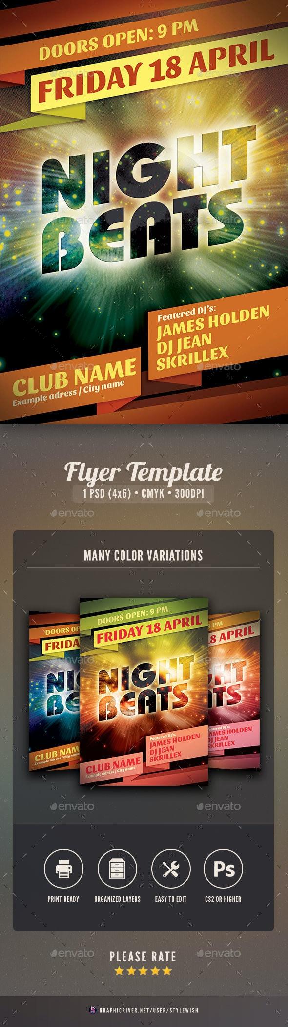 Night Beats Flyer - Events Flyers
