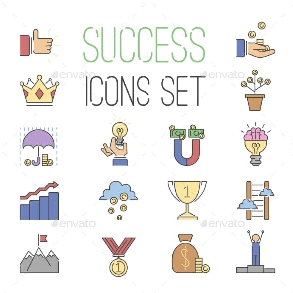 Business Success Vector Icons Set Isolated On