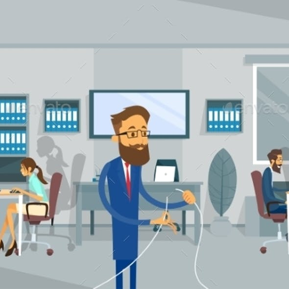 Business Man Holding Cable Office Connection