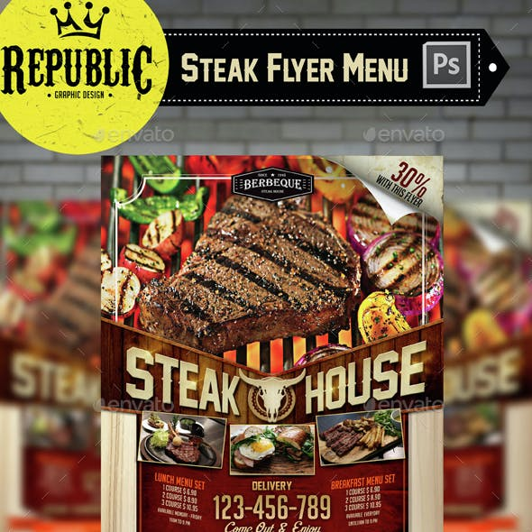Steak Food Menu Flyer