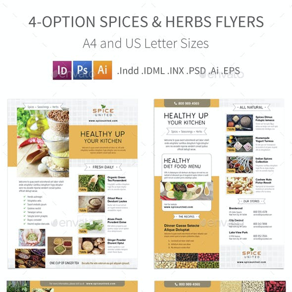 Spices & Herbs Flyers – 4 Options