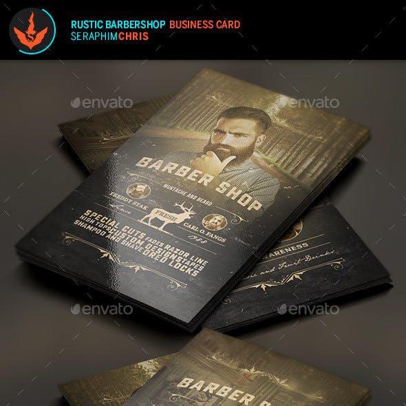 Rustic Barbershop Business Card Template