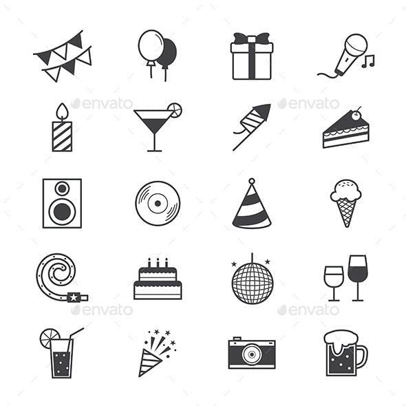 Celebration Party Icons Line
