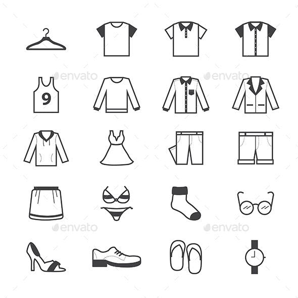 Cloth and Accessory Icons Line