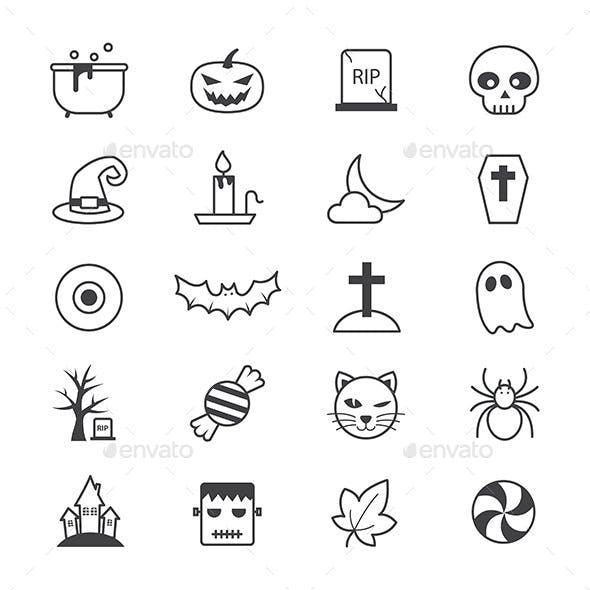 Halloween Party Icons Line