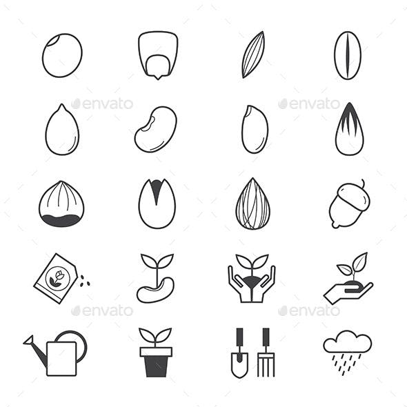 Seeds and Gardening Icons Line
