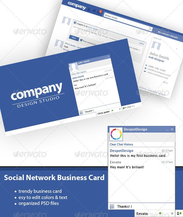 Social Network Business Card - Creative Business Cards