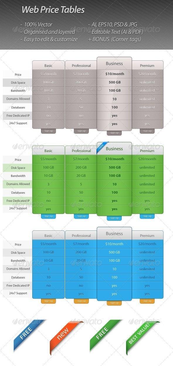 Vector Price Table Templates - Web Elements Vectors