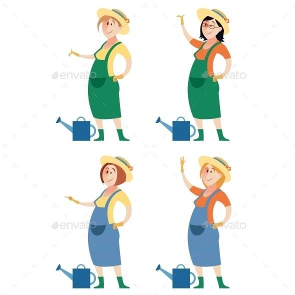 Set Of Gardener Women