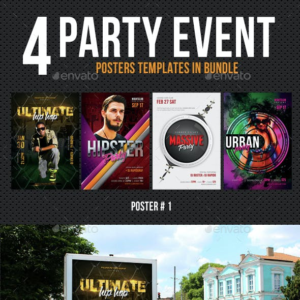 4 Party Event Music Poster Bundle