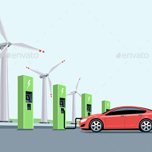 Electric Car Charging at the Charging Station in front of the Windmills