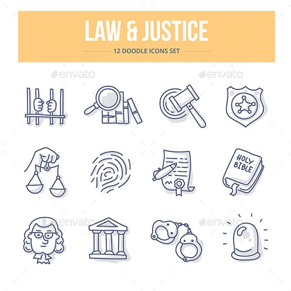 Law & Justice Doodle Icons