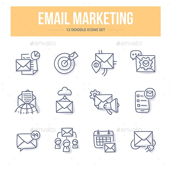 E-Mail Marketing Doodle Icons