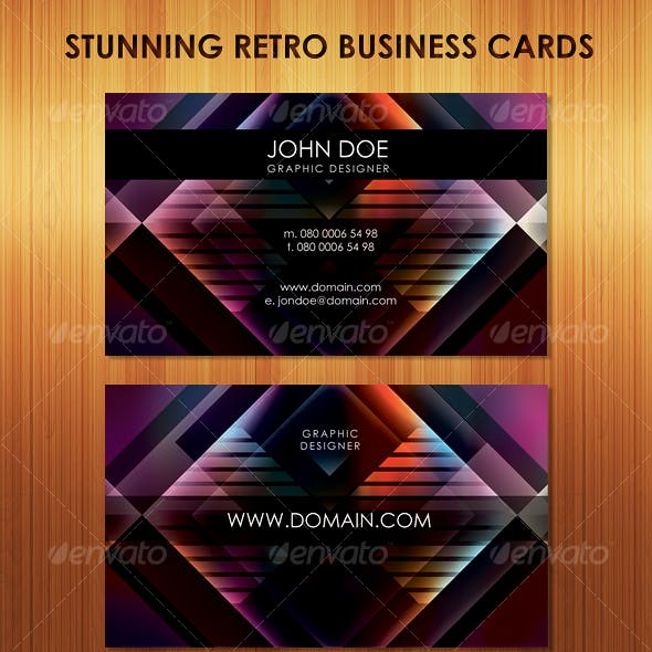 Stunning Retro Business Cards in 6 colors