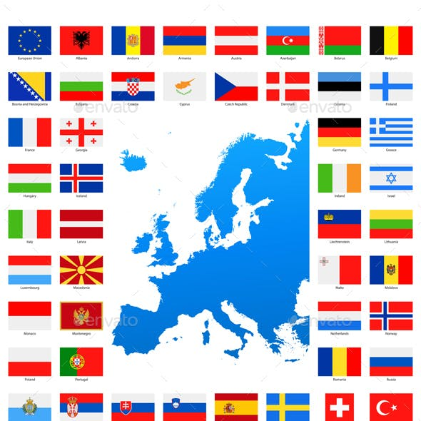 Map and Flags of Europe Collection