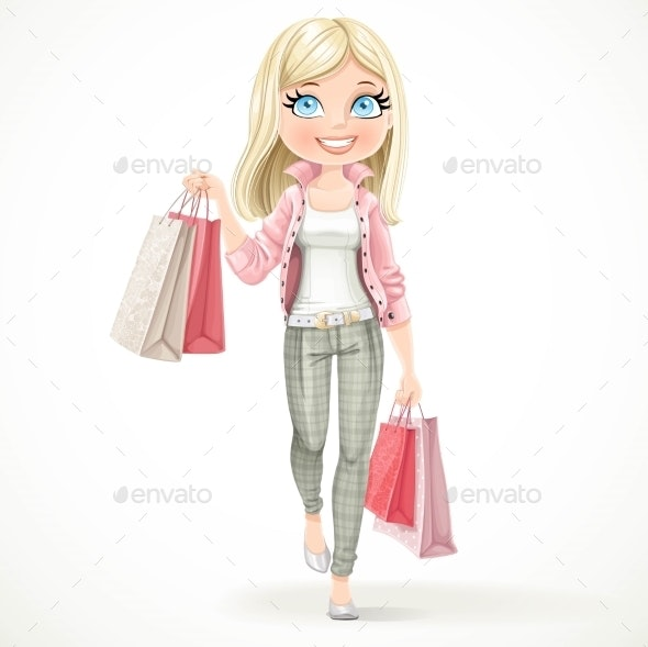 Blond Shopaholic Girl - Retail Commercial / Shopping