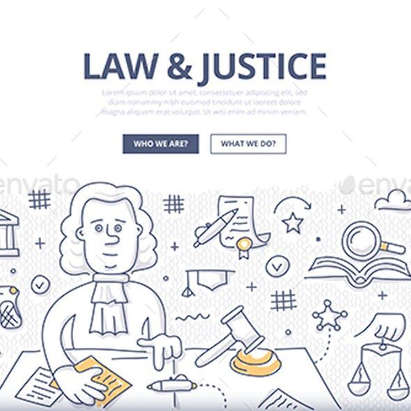 Law & Justice Doodle Concept