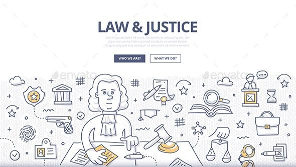 Law & Justice Doodle Concept - Miscellaneous Vectors