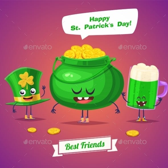 Set Of Sint Patrick Day Characters. Vector Cute