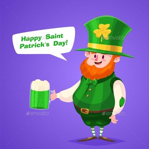 Set Of Saint Patrick Day Character. Vector Cute