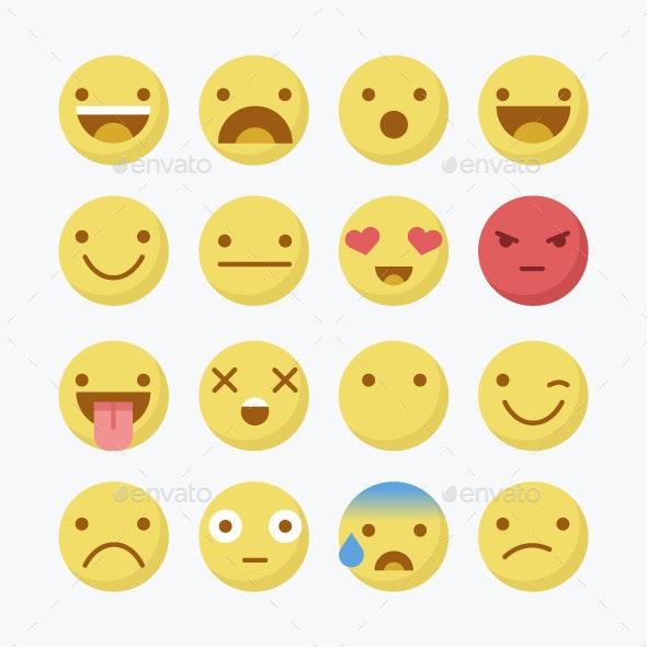 Emoji Flat Icons . - Vectors