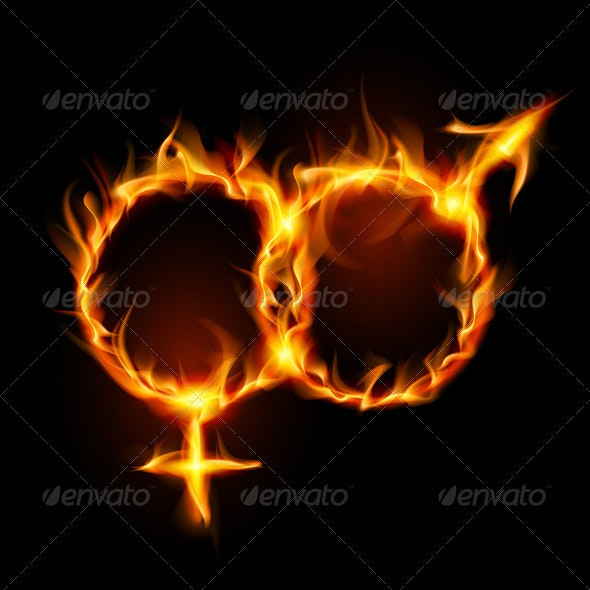 Man and woman burning symbol  - People Characters